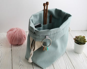 Canvas Project Bag for Knitting Crochet drawstring knitting bag Knitting Project Bag Project Storage Bag Knitter's Bag Bag to knit on the go