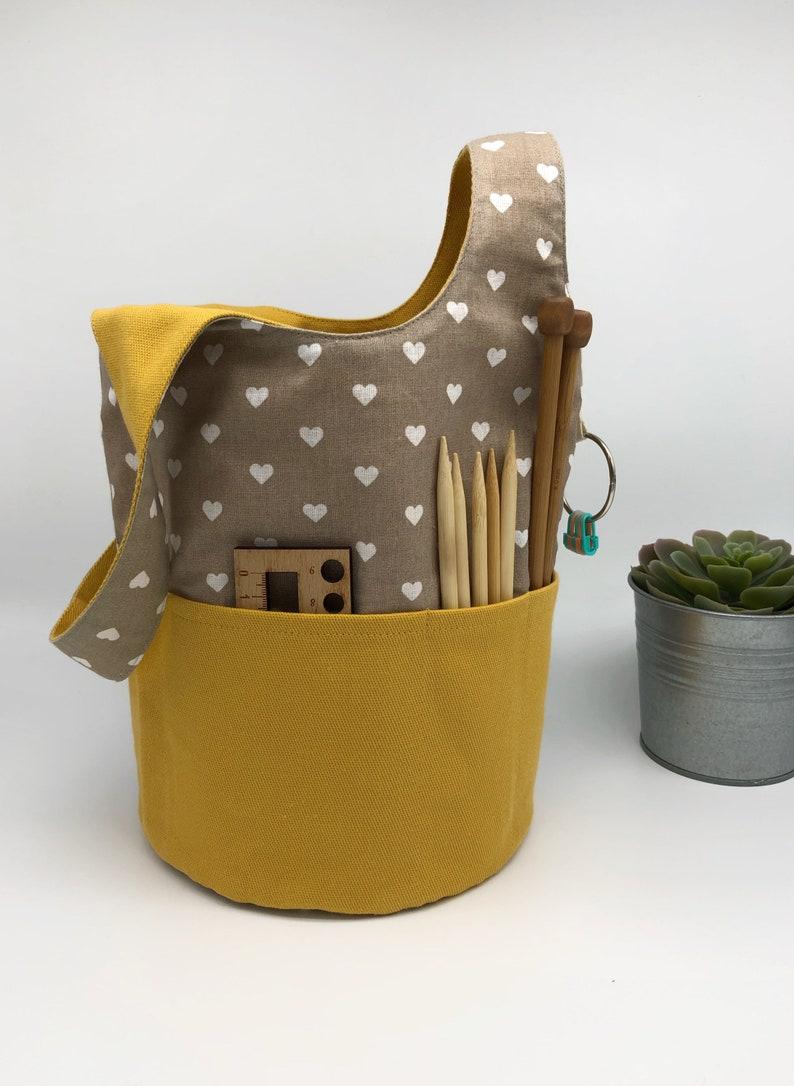Japanese Knot Bucket Bag Knitting wristlet Cat Project bag Knitting Project Bag