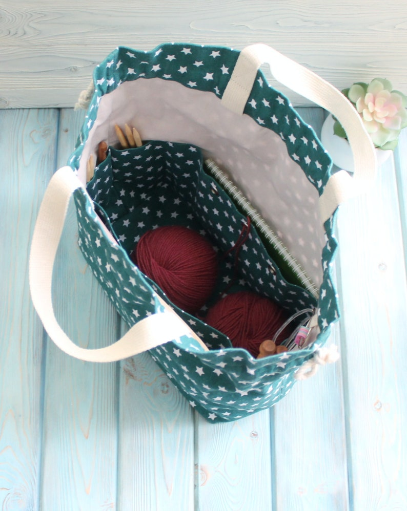 Extra large Knitting Project Bag Canvas Project Bag for Knitting Crochet drawstring knitting bag  Project Storage Bag Knitter/'s Bag
