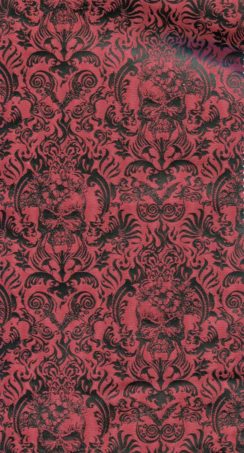 German jacquard fabric skull flower vine 70 mm red black