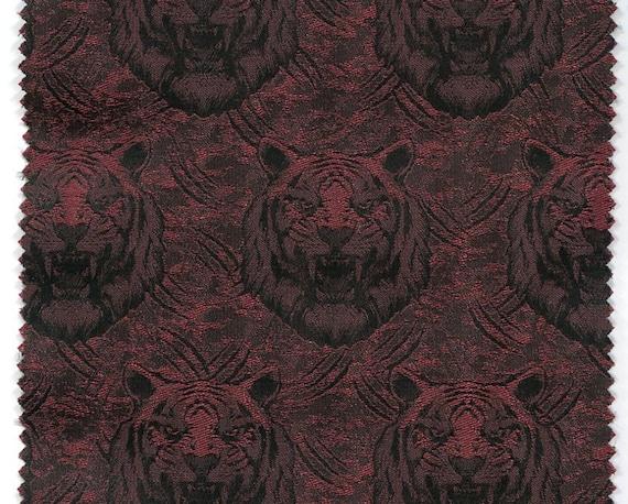 German jacquard fabric Krone bordeaux-red black