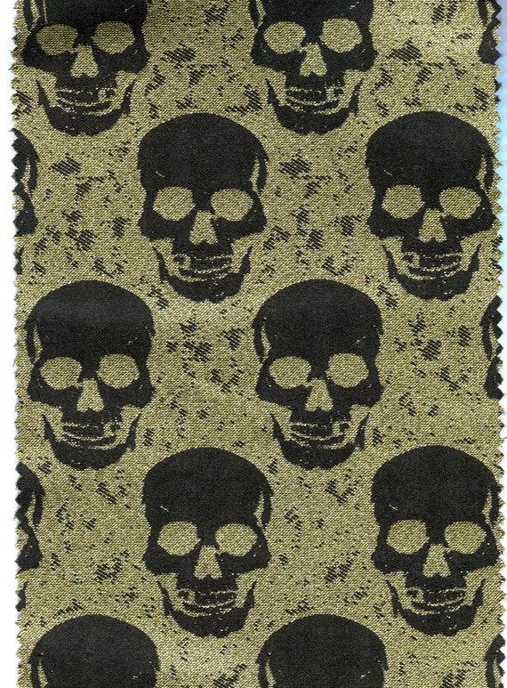 German jacquard fabric ghostly skull 50 mm black V2