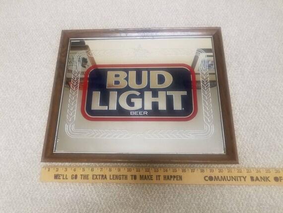 Vintage Bud Light Bar Mirror Vintage Bud Light Advertisement Sign
