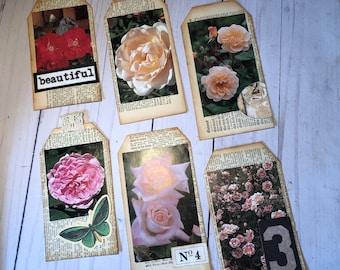 6 Handmade, Floral Embellished Journal Tags.  Ephemera. Multi layered. Journal embellishments. Junk Journal Treasures