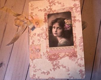 """Handmade, Open Spine, 80 page Vintage Style Junk Journal. Vintage Ladies. 5.5"""" x 8.5"""". Junk Journal Treasures"""