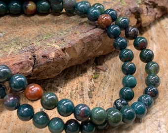 Blood Stone 6mm Round - one 8 inch strand