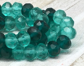 6x8mm Rondelle Sea Green and Forest Green Mix Czech Glass Beads 25 bead strand