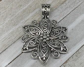 Metal Filigree Flower Boho Pendant