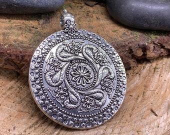 Large Metal Boho swan like Medalion Pendant