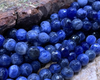 6mm Sodalite Faceted Round-one 15 inch strand