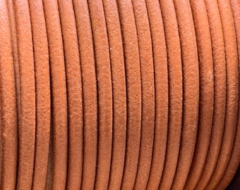 3mm NATURAL Round Mediterranean Leather -Sold by yard