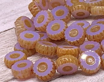 12x5 Daisy Flower Lavender Czech Glass Beads one string of 15 beads