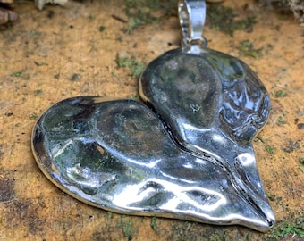 Large Metal Broken Heart Boho Pendant