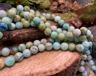 Phoenix Stone (Light Chrysocolla) 10mm Round one 15 inch strand