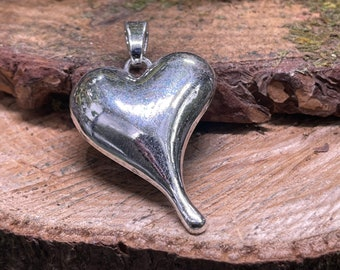 Large Metal Puffy Heart Boho Pendant