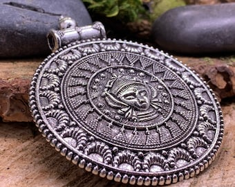 Large Metal Tribal Boho Medalion Pendant