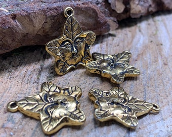 Tree spirit charm ANTIQUE GOLD Pewter (4 pieces)