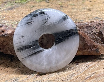 Black Tourmalinated Quartz 32 mm Donut Pi Stone Pendant TQ109