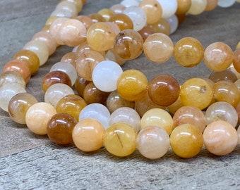8mm Yellow Jade bead-one 8 inch strand