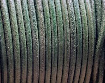3mm GREEN Round Mediterranean Leather -Sold by yard