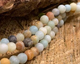 4mm Round MATTE Amazonite  bead-one 8 inch strand