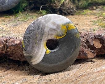 Bumble Bee Jasper Pi Stone Donut Pendant 40 mm BB108