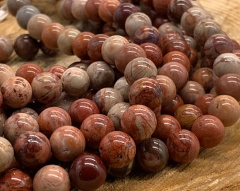 Red Porcelain Jasper 8mm Round Bead-one 8 inch strand