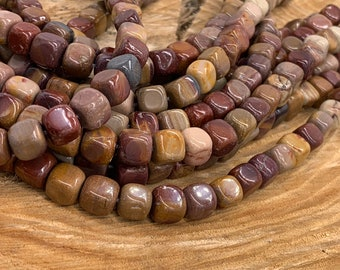 """5MM  MOOKAITE GEMSTONE SQUARE CUBE LOOSE BEADS 15.5/"""""""