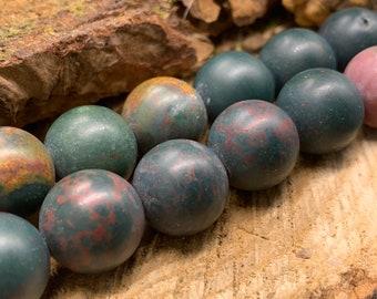 MATTE BloodStone 14 mm Round Beads 15 inch strand