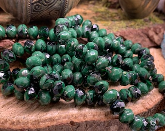 6x8mm Rondelle Hunter Green with Picasso Finish Czech Glass Beads (1350)