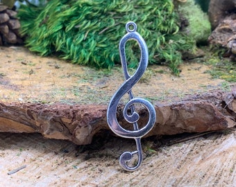Large Treble Clef Metal Music Pendant