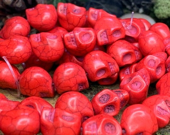 "10x13mm Dyed Skull Bead Red 15"" strand"