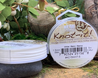 White 1.5mm Chinese Knotting Cord 5.46 yards Knot-It by Bead Smith