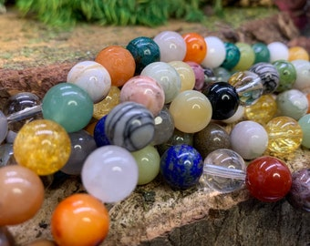 10mm Mixed Stone Round Bead, one 8 inch strand