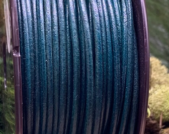 2mm TEAL Round Mediterranean Leather -Sold by yard