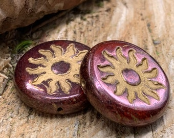 22mm Sun Coin Burnt Umber with Metallic Finish Czech Glass and Gold Wash (2 beads) 1208