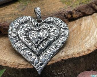 Large Metal Heart Boho Pendant