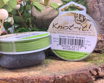 Emerald  .8mm Chinese Knotting Cord 16.4 yards Knot-It by Bead Smith