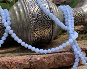 Angelite 4mm Round Beads. 15 inch strand