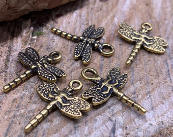 5 Dragonfly Charms double sided