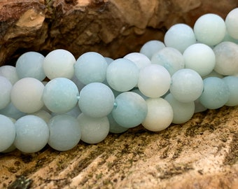 6mm MATTE Round Amazonite  bead-one 8 inch strand