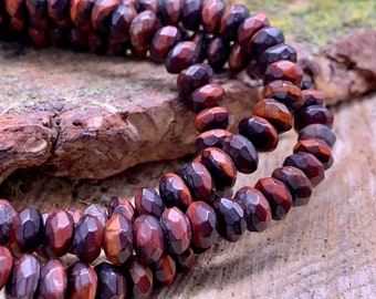 Red tiger eye 8mm Faceted Rondelle -one 8 inch strand