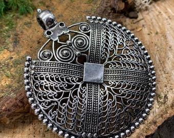 Filigree Metal Boho Medalion Pendant