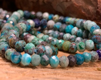 Chrysocolla (AA) 4mm Diamond Cut Faceted Rondelle 15 inch strand