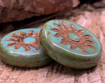 22mm Sun Coin Sea Green with Gold Wash and Picasso Finish (2 beads) 1181