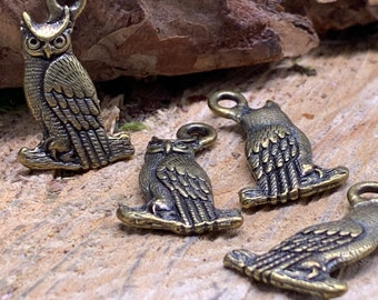 Owl Charms Brass (lot of 4)