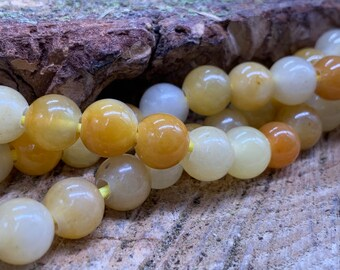 8mm Yellow Jade Large Hole Round bead-one 8 inch strand