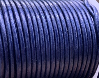 3mm BLUE METALLIC Round Indian Leather -Sold by yard