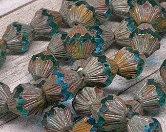 11x13mm Baroque Bicone Sky Blue with Picasso Finish Czech Glass beads One unit has 15 beads. Stock0505