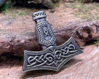 Thor's Hammer Viking Metal Amulet Pendant, Norse Charm 50mm long